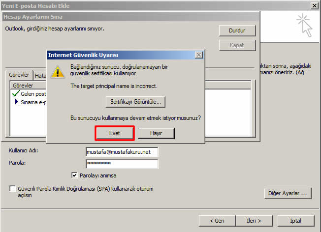 Outlook Sertifika Hatası